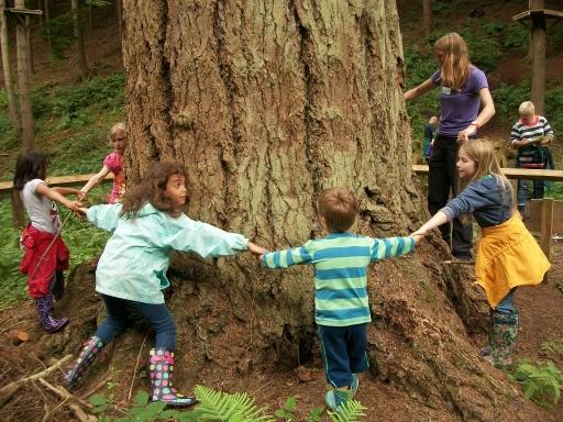 Enjoying a tree hug